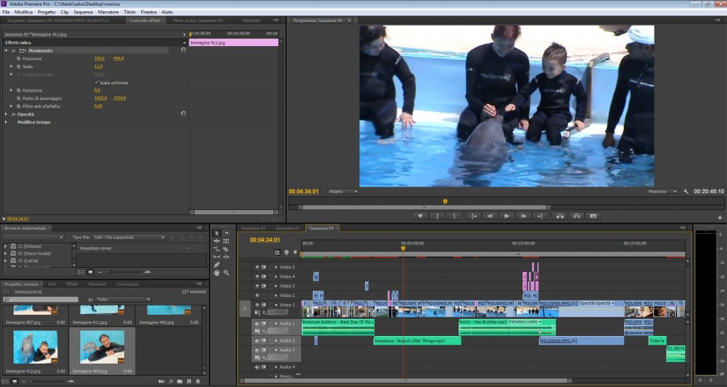 Programma per Montaggio video Adobe premiere